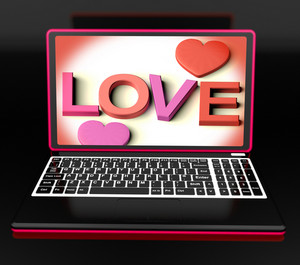Love On Laptop Shows Romance