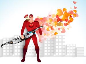 Love Superhero On Urban City Background