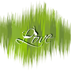 Love Text On Green Background