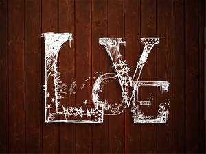 Love Text On Grungy Brown Background