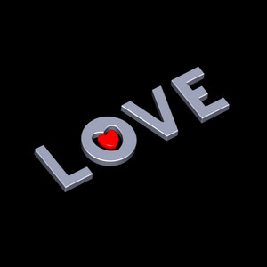 Love With Heart On The Black Background.