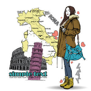 Lovely Autumnal Girl In Sketch-style On A Italien Background. Vector Illustration