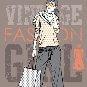 Lovely Fashion Girl On A Grunge Background. Vector Illustration