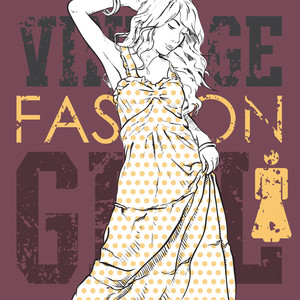 Lovely Fashion Girl On A Grunge Background. Vector Illustration