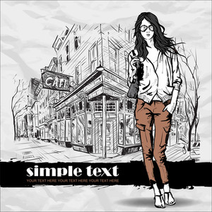Lovely  Girl In Sketch-style On A Street Cafe Background. Vector Illustration