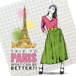 Lovely Spring Girl In Sketch-style On A Eiffel Tower Background. Vector Illustration
