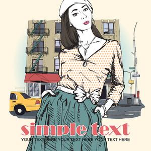 Lovely Spring Girl On A Street Background. Vector Illustration