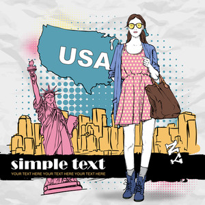 Lovely Summer Girl In Sketch-style On A Usa Background. Vector Illustration
