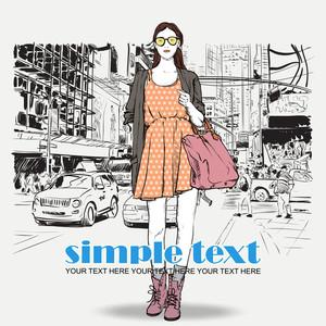 Lovely Summer Girl On A Street Background. Vector Illustration