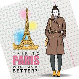 Lovely Winter Girl In Sketch-style On A Eiffel Tower Background. Vector Illustration