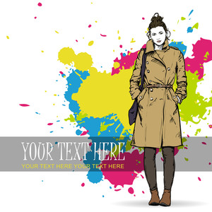 Lovely Winter Girl In Sketch-style. Vector Illustration