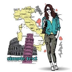 Lovely Young Girl In Sketch-style On A Italien Background. Vector Illustration