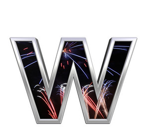 Lower Case Letter From Firework With Chrome Frame Alphabet Set