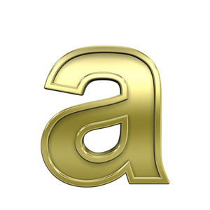 Lower Case Letter From Shiny Gold With Frame Alphabet Set