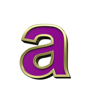 Lower Case Letter From Violet With Gold Frame Alphabet Set