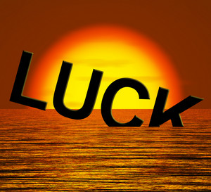 Luck Word Sinking Showing Unlucky And Misforture