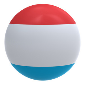 Luxembourg Flag On The Ball Isolated On White.