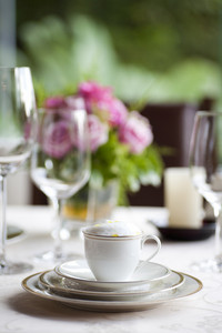 luxury cup of coffee set on table