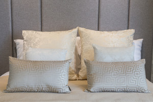 Luxury elegance bedroom close up with pillow.