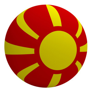 Macedonia Flag On The Ball Isolated On White.