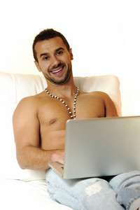 Macho guy with laptop