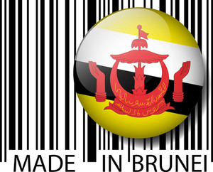 Made In Brunei Barcode. Vector Illustration