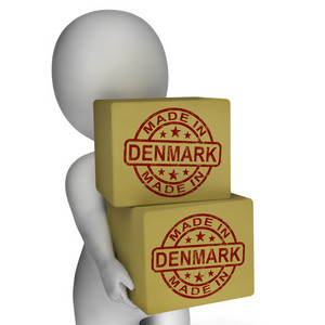 Made In Denmark Stamp On Boxes Shows Danish Products