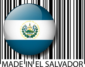 Made In El Salvador Barcode. Vector Illustration