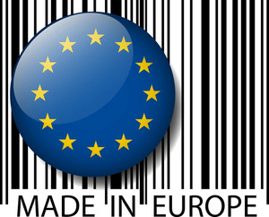 Made In Europe Barcode. Vector Illustration