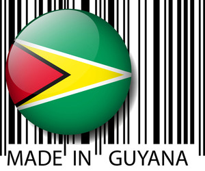 Made In Guyana Barcode. Vector Illustration