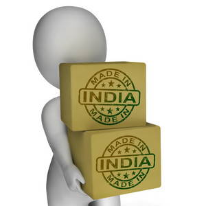 Made In India Stamp On Boxes Shows Indian Products