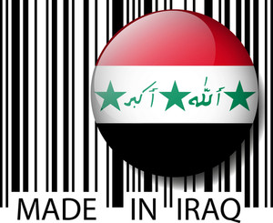 Made In Iraq Barcode. Vector Illustration