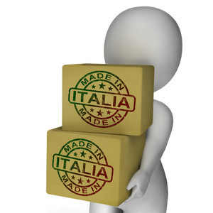 Made In Italia Stamp On Boxes Shows Italian Products