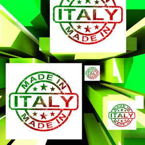 Made In Italy On Cubes Shows Italian Manufacture