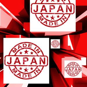Made In Japan On Cubes Showing Japanese Industry