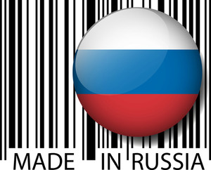 Made In Russia Barcode. Vector Illustration