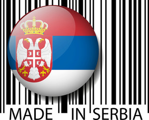 Made In Serbia Barcode. Vector Illustration