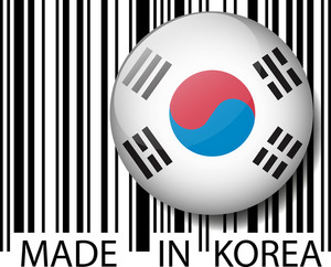 Made In South Korea Barcode. Vector Illustration