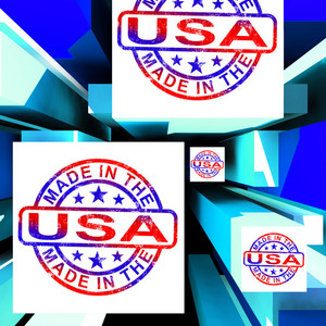 Made In The Usa On Cubes Showing Patriotism