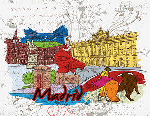 Madrid Doodles With Grunge Background Vector Illustration