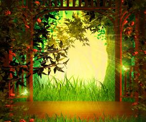 Magic Garden Background Wooden Stage