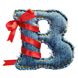 Magic holiday jeans alphabet letter B with red ribbon