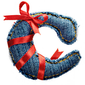 Magic holiday jeans alphabet letter C with red ribbon