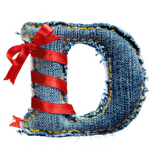 Magic holiday jeans alphabet letter D with red ribbon