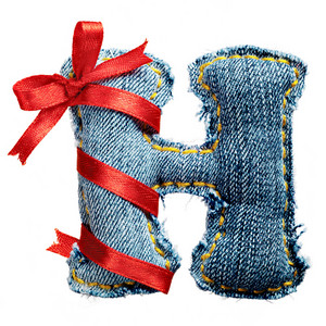 Magic holiday jeans alphabet letter H with red ribbon