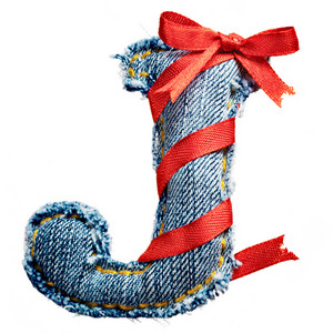 Magic holiday jeans alphabet letter J with red ribbon