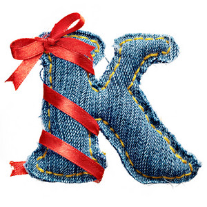 Magic holiday jeans alphabet letter K with red ribbon