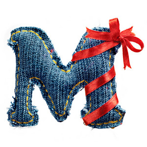 Magic holiday jeans alphabet letter M with red ribbon