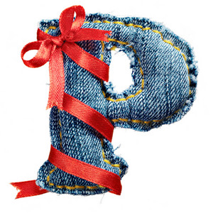Magic holiday jeans alphabet letter P with red ribbon