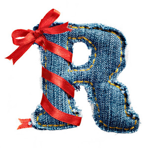 Magic holiday jeans alphabet letter R with red ribbon